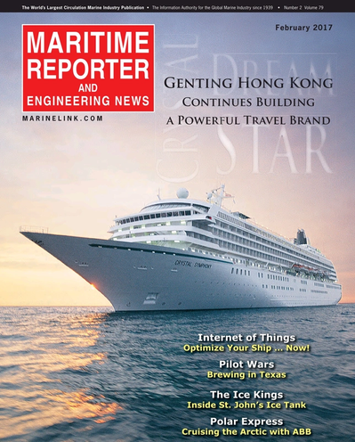 Cover of February 2017 issue of Maritime Reporter and Engineering News Magazine