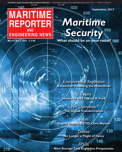 Cover of September 2017 issue of Maritime Reporter and Engineering News Magazine