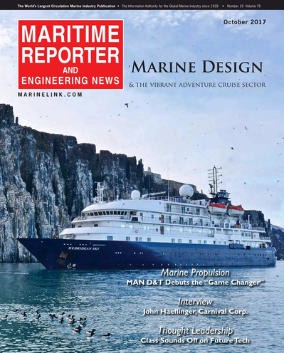 Cover of October 2017 issue of Maritime Reporter and Engineering News Magazine