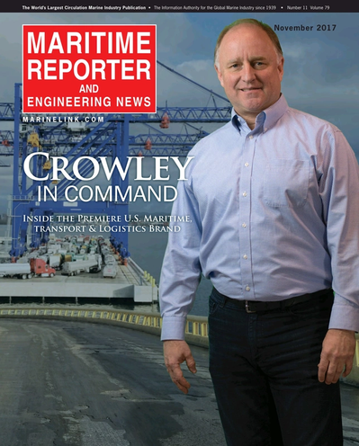 Cover of November 2017 issue of Maritime Reporter and Engineering News Magazine