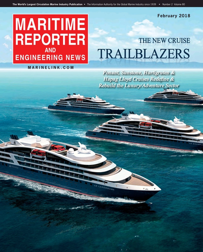 Cover of February 2018 issue of Maritime Reporter and Engineering News Magazine