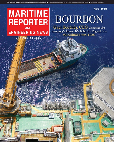 Cover of April 2018 issue of Maritime Reporter and Engineering News Magazine