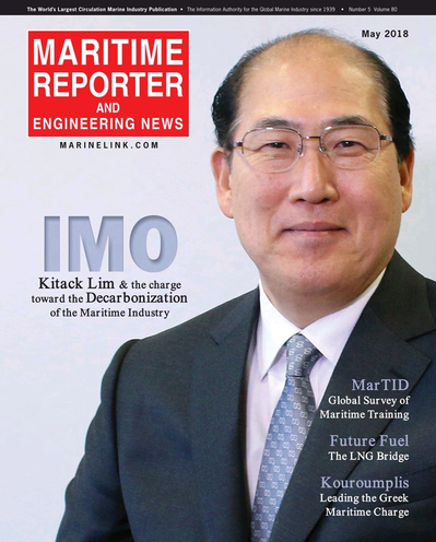 Cover of May 2018 issue of Maritime Reporter and Engineering News Magazine