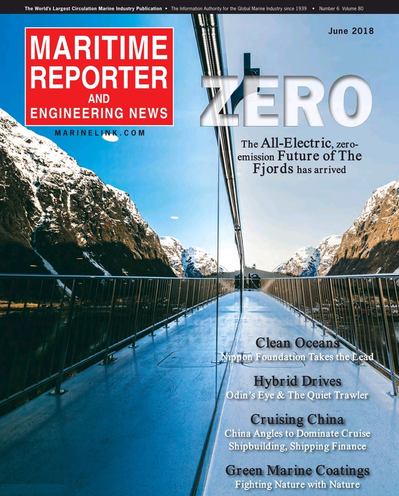 Cover of June 2018 issue of Maritime Reporter and Engineering News Magazine