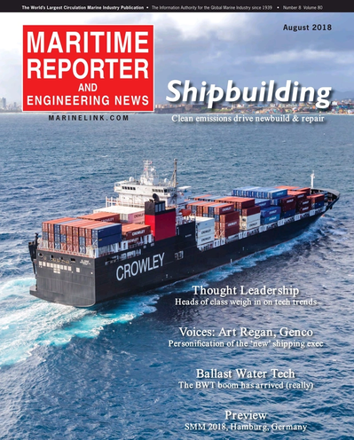Cover of August 2018 issue of Maritime Reporter and Engineering News Magazine