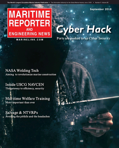 Cover of September 2018 issue of Maritime Reporter and Engineering News Magazine
