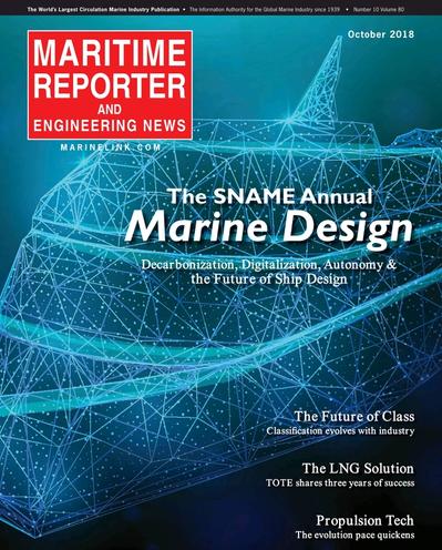 Cover of October 2018 issue of Maritime Reporter and Engineering News Magazine