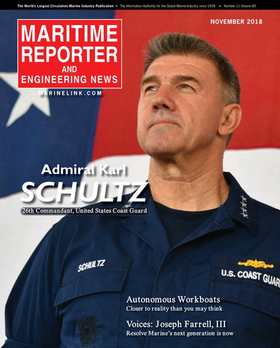 Cover of November 2018 issue of Maritime Reporter and Engineering News Magazine