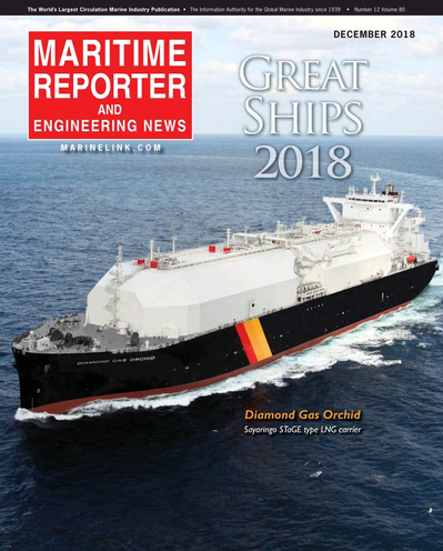 Cover of December 2018 issue of Maritime Reporter and Engineering News Magazine