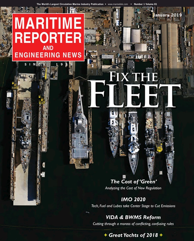Cover of January 2019 issue of Maritime Reporter and Engineering News Magazine