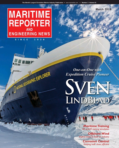 Cover of March 2019 issue of Maritime Reporter and Engineering News Magazine