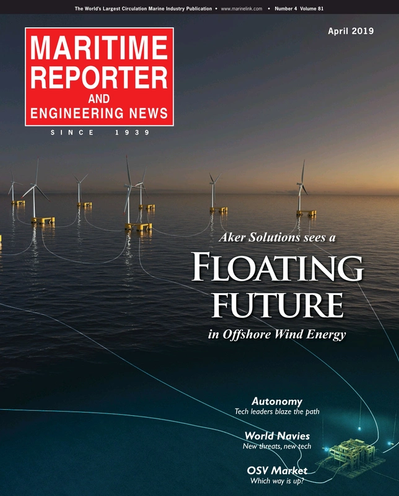 Cover of April 2019 issue of Maritime Reporter and Engineering News Magazine