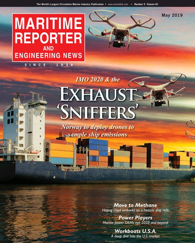 Cover of May 2019 issue of Maritime Reporter and Engineering News Magazine
