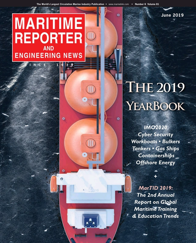Cover of June 2019 issue of Maritime Reporter and Engineering News Magazine