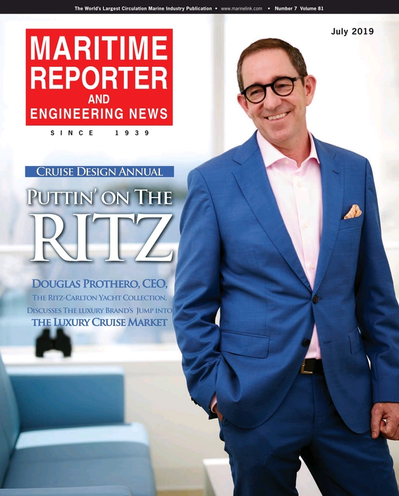 Cover of July 2019 issue of Maritime Reporter and Engineering News Magazine