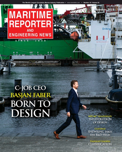 Cover of October 2019 issue of Maritime Reporter and Engineering News Magazine