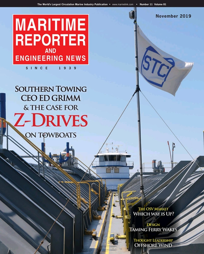 Cover of November 2019 issue of Maritime Reporter and Engineering News Magazine