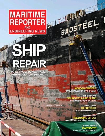 Cover of January 2020 issue of Maritime Reporter and Engineering News Magazine