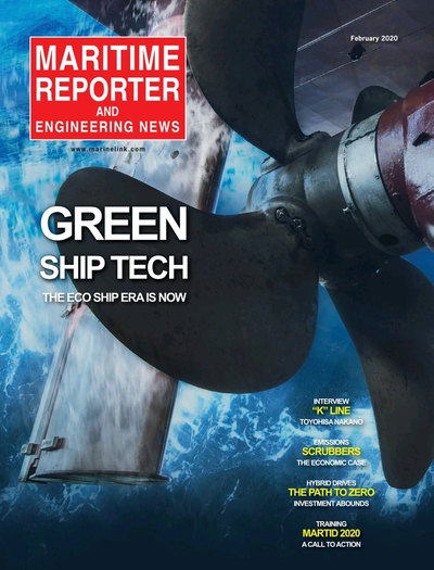 Cover of February 2020 issue of Maritime Reporter and Engineering News Magazine