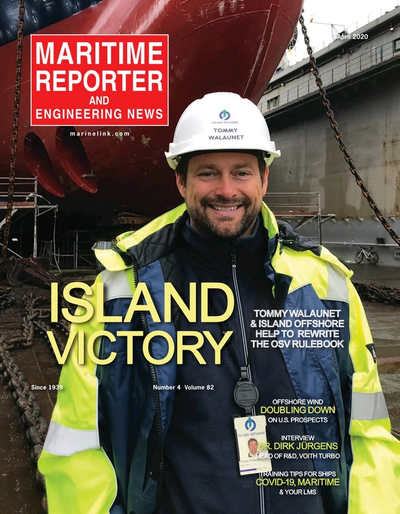 Cover of April 2020 issue of Maritime Reporter and Engineering News Magazine