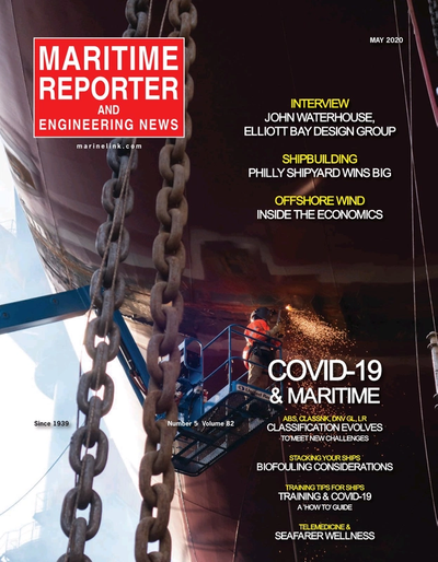 Cover of May 2020 issue of Maritime Reporter and Engineering News Magazine
