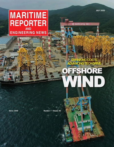 Cover of July 2020 issue of Maritime Reporter and Engineering News Magazine