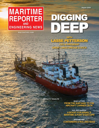 Cover of August 2020 issue of Maritime Reporter and Engineering News Magazine