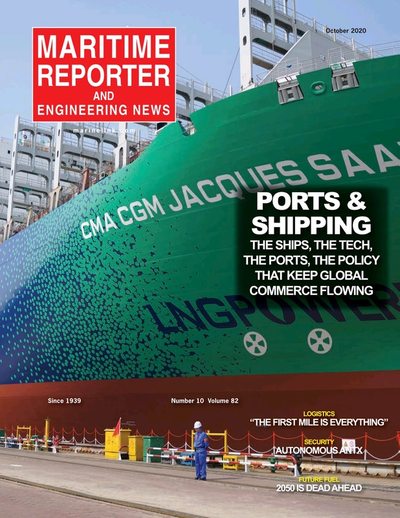 Cover of October 2020 issue of Maritime Reporter and Engineering News Magazine