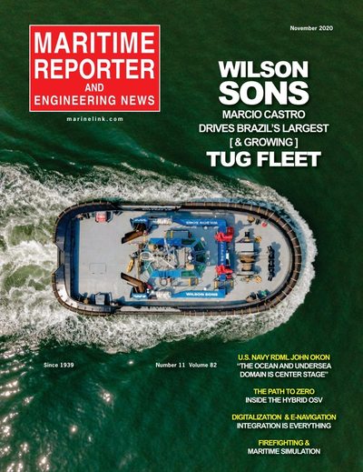 Cover of November 2020 issue of Maritime Reporter and Engineering News Magazine