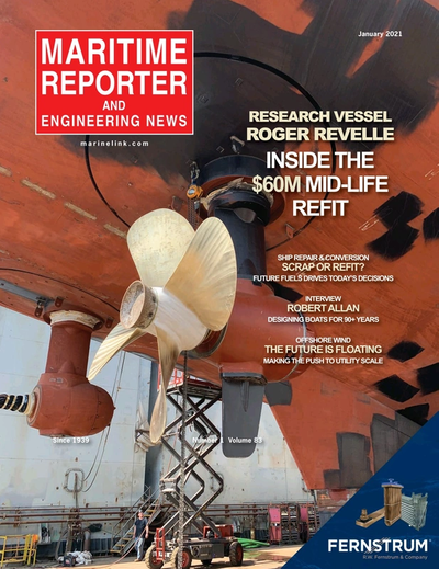 Cover of January 2021 issue of Maritime Reporter and Engineering News Magazine