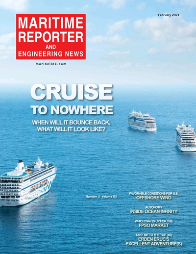 Cover of February 2021 issue of Maritime Reporter and Engineering News Magazine