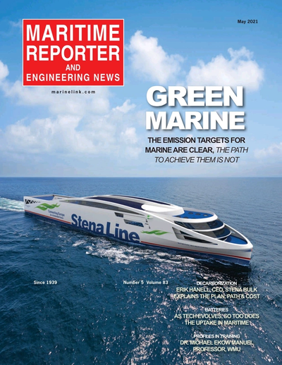 Cover of May 2021 issue of Maritime Reporter and Engineering News Magazine