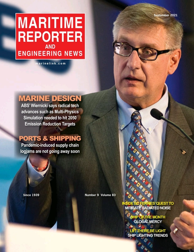Cover of September 2021 issue of Maritime Reporter and Engineering News Magazine