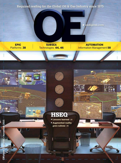 Cover of November 2015 issue of Offshore Engineer Magazine
