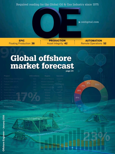 Cover of January 2016 issue of Offshore Engineer Magazine
