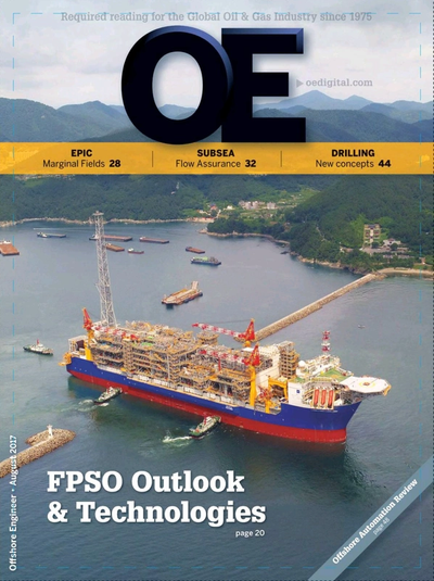 Cover of August 2017 issue of Offshore Engineer Magazine