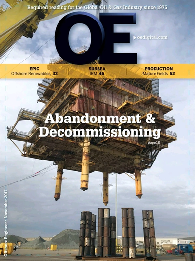 Cover of November 2017 issue of Offshore Engineer Magazine