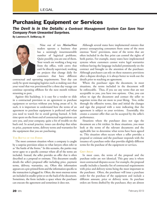 Marine News Magazine, page 20,  Feb 2013 Contract Management System Can Save Your Company