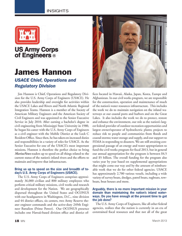 Marine News Magazine, page 18,  Mar 2013 INSIGHTSJames HannonUSACE Chief, Operations and Regulatory Division