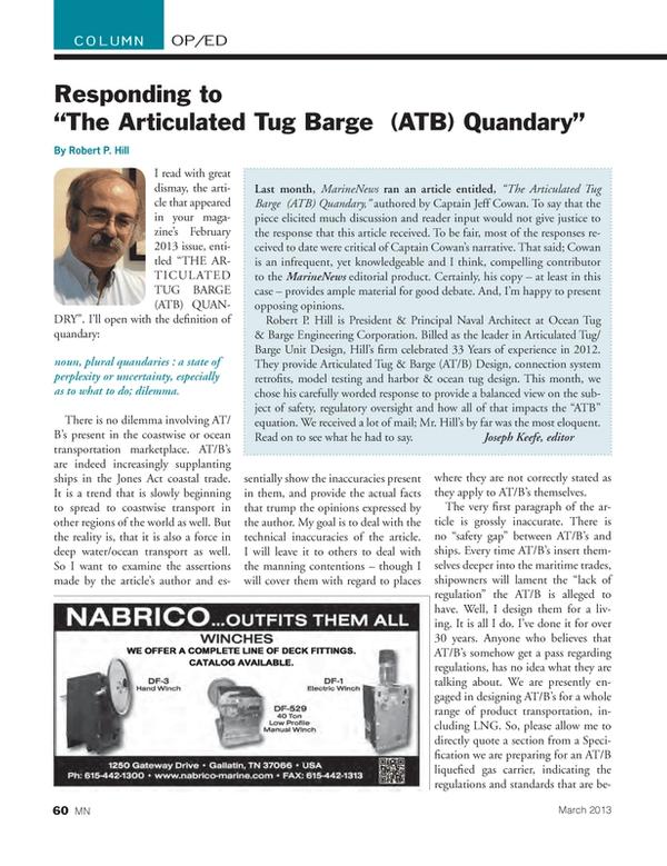 Marine News Magazine, page 60,  Mar 2013 ocean transportation marketplace