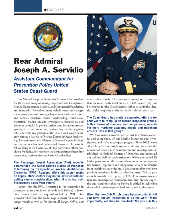 Marine News Magazine, page 12,  May 2013