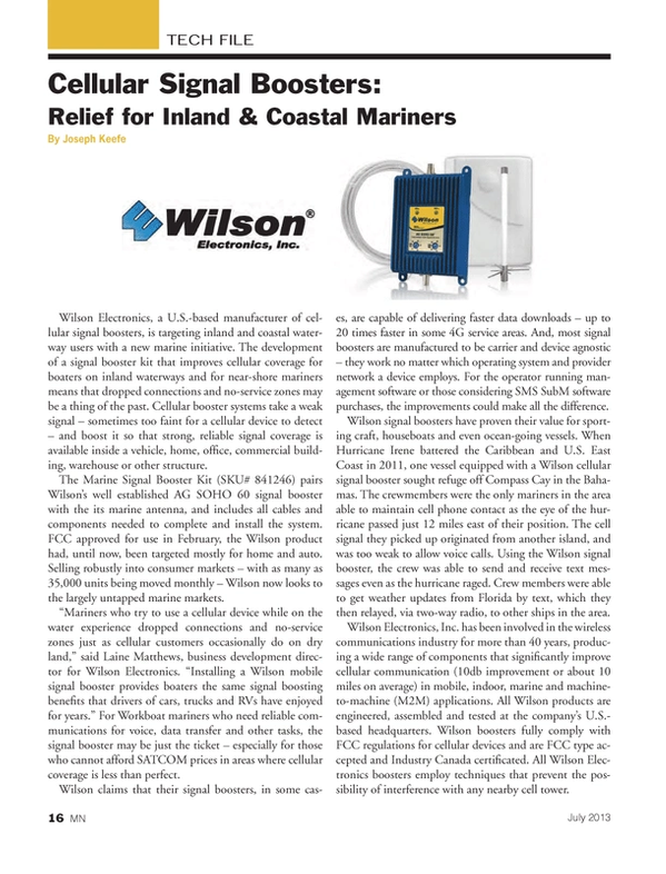 Marine News Magazine, page 16,  Jul 2013 SMS