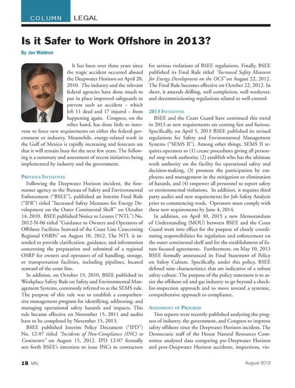 Marine News Magazine, page 18,  Aug 2013