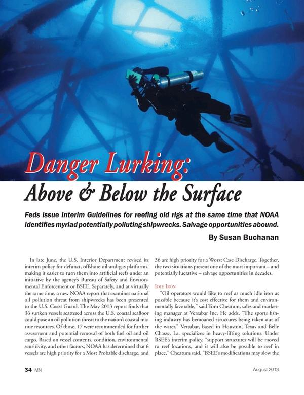 Marine News Magazine, page 34,  Aug 2013 U.S. Interior Department
