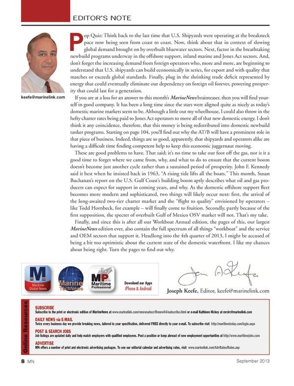 Marine News Magazine, page 8,  Sep 2013 Kathleen Hickey