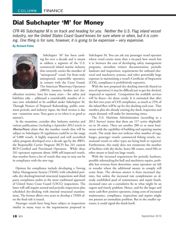 Marine News Magazine, page 18,  Sep 2013 travel lifts