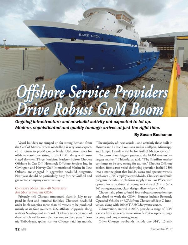 Marine News Magazine, page 52,  Sep 2013 Susan Buchanan Offshore