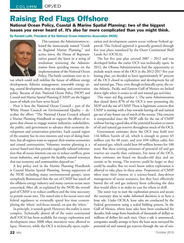 Marine News Magazine, page 22,  Oct 2013