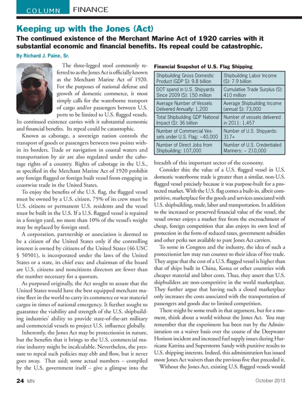 Marine News Magazine, page 24,  Oct 2013
