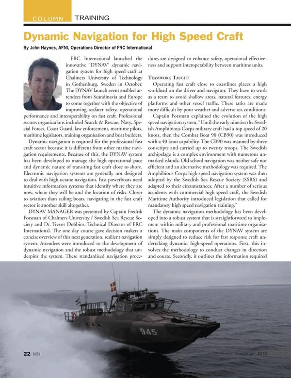 Marine News Magazine, page 22,  Dec 2013 Chalmers University of Technology